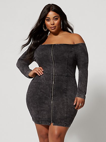 Plus Size Kallie Off Shoulder Denim Zip Dress - Fashion To Figure