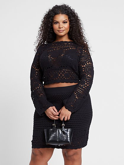 Plus Size Kamilah Long Sleeve Crochet Sweater - Fashion To Figure