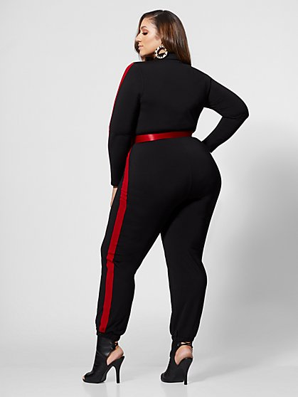 609faebaaf9fa ... Plus Size Kara Belted Sporty Jumpsuit - Fashion To Figure ...