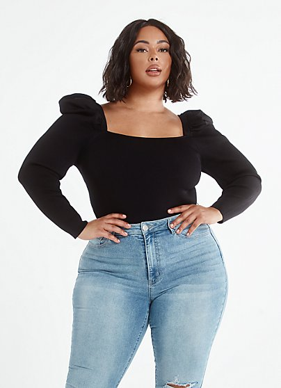 Plus Size Kara Puff Sleeve Square Neck Top - Fashion To Figure