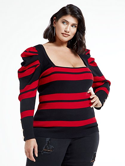 Plus Size Kara Puff Sleeve Striped Square Neck Top - Fashion To Figure