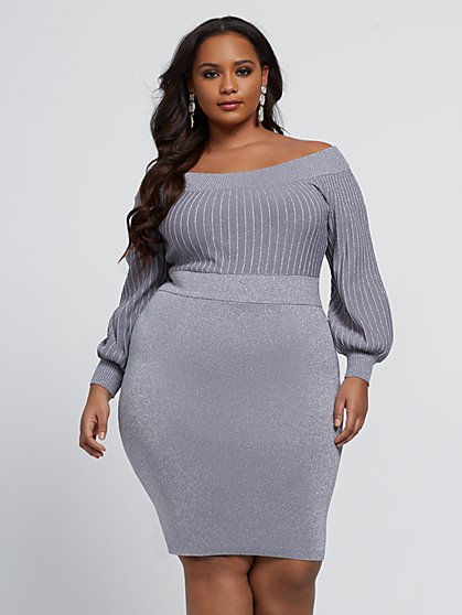 Plus Size Kara Silver Sweater Dress - Fashion To Figure