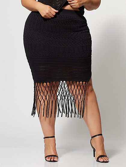 Plus Size Karenza Crochet Fringe Skirt - Fashion To Figure
