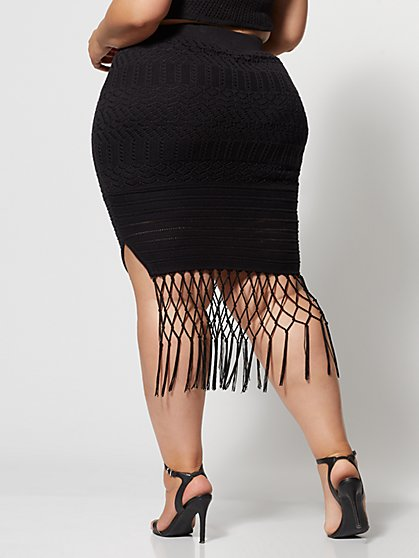 7c98fa773140 ... Plus Size Karenza Crochet Fringe Skirt - Fashion To Figure ...