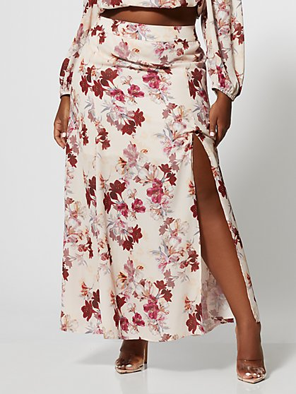 Plus Size Karmen Floral Maxi Skirt - Fashion To Figure