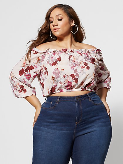 Plus Size Karmen Floral Off Shoulder Top - Fashion To Figure
