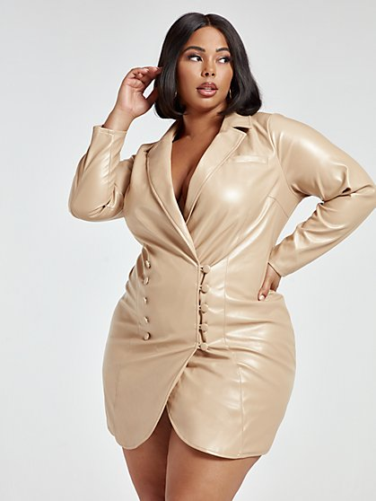Plus Size Kat Faux Leather Blazer Dress - Fashion To Figure
