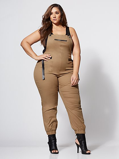 Plus Size Kat Khaki Utility Overall Jumpsuit - Fashion To Figure