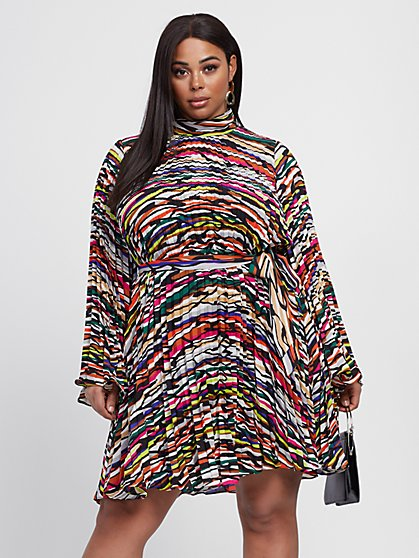 Plus Size Katarina Pleated Print Dress - Gabrielle Union x FTF - Fashion To Figure
