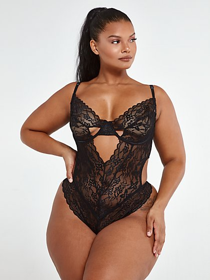 Plus Size Katelyn Lace Cutout Bodysuit - Fashion To Figure