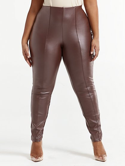 Plus Size Katharina Dark Brown Seam Front Faux-Leather Pants - Fashion To Figure