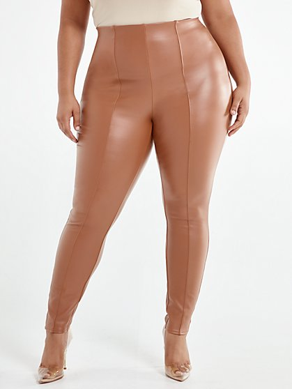 Plus Size Katharina Tan Seam Front Faux-Leather Pants - Fashion To Figure