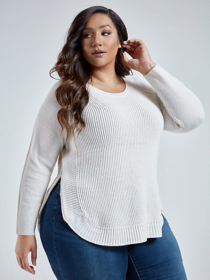Plus Size Katherine Side Zip Sweater - Fashion To Figure