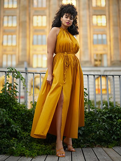 Plus Size Katisha Tie Neck Belted Maxi Dress - Gabrielle Union x FTF - Fashion To Figure
