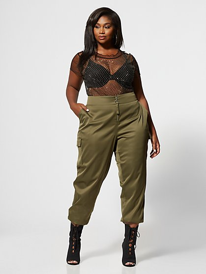 Plus Size Katja Silky Zip Jogger Pant - Fashion To Figure