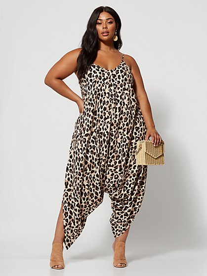 Plus Size Kaya Leopard-Print Harem Jumper - Fashion To Figure