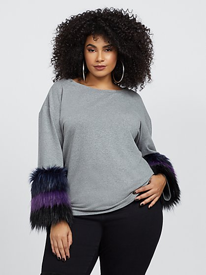 Plus Size Kayla Faux-Fur Sleeve Sweatshirt - Fashion To Figure