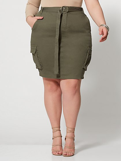 Plus Size Kaylee Belted Cargo Skirt - Fashion To Figure