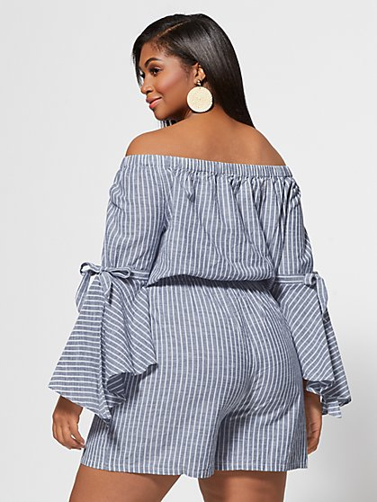 529e2f588142 ... Plus Size Kaylee Off Shoulder Bell Sleeve Romper - Fashion To Figure ...