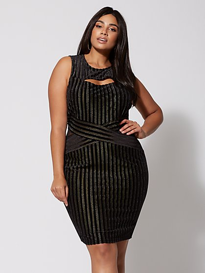 Plus Size Kaylee Striped Bodycon Dress - Fashion To Figure