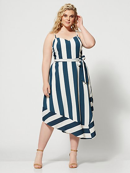 Plus Size Kayleigh Striped Belted Dress - Fashion To Figure