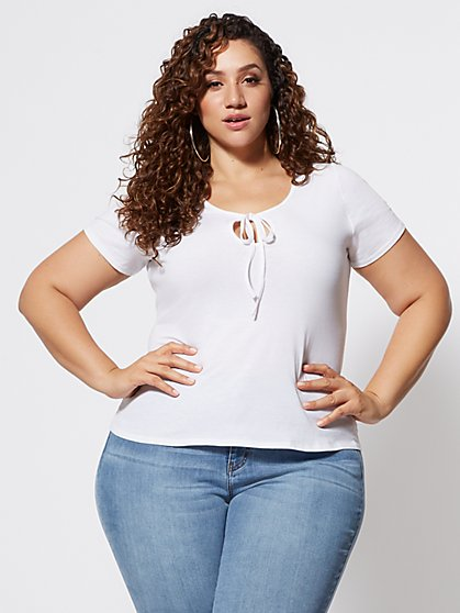 Plus Size Keila Cut-Out Tie Neck Tee - Fashion To Figure