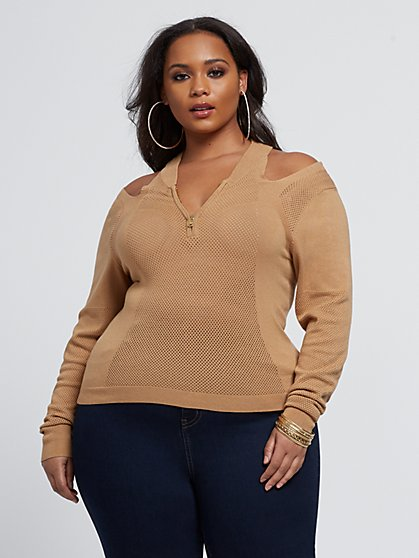 Plus Size Keira Cold Shoulder Zip Sweater - Fashion To Figure