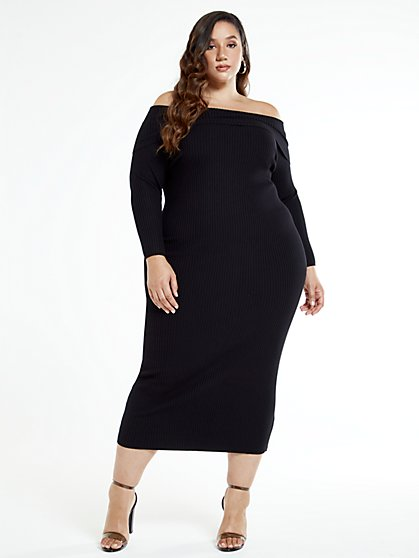 Plus Size Keisha Off The Shoulder Sweater Maxi Dress - Fashion To Figure