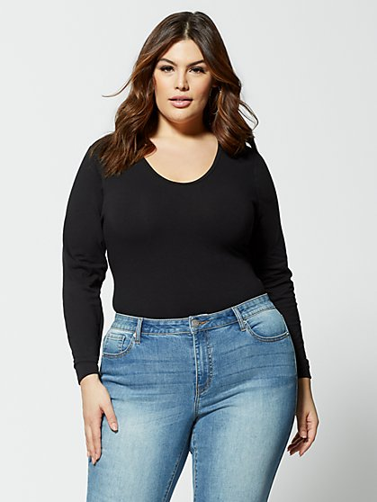 Plus Size Keke Long Sleeve Bodysuit - Fashion To Figure