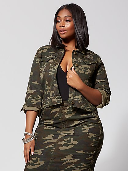 Plus Size Kellie Camo Jacket - Fashion To Figure