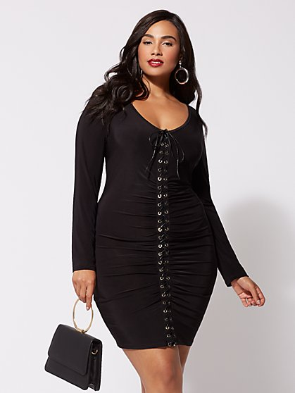 Plus Size Kellie Lace-Up Bodycon Dress - Fashion To Figure