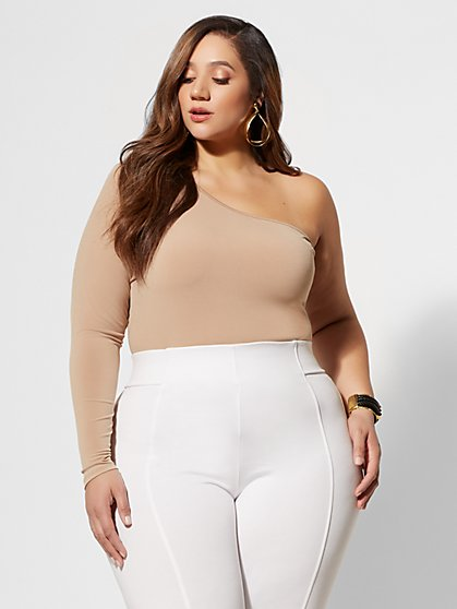 Plus Size Kendall One Shoulder Crop Top - Fashion To Figure
