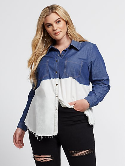 Plus Size Kendra Dip Dye Denim Button-Up Shirt - Fashion To Figure