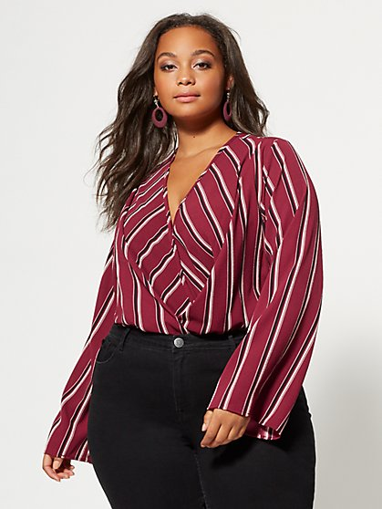 Plus Size Kenzie Wrap-Front Bodysuit - Fashion To Figure