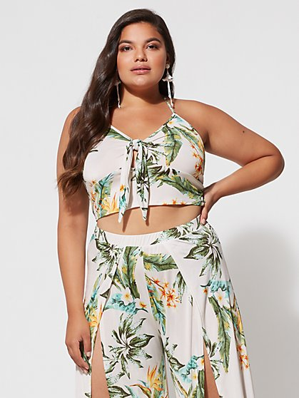 Plus Size Kiara Tropical Crop Top - Fashion To Figure