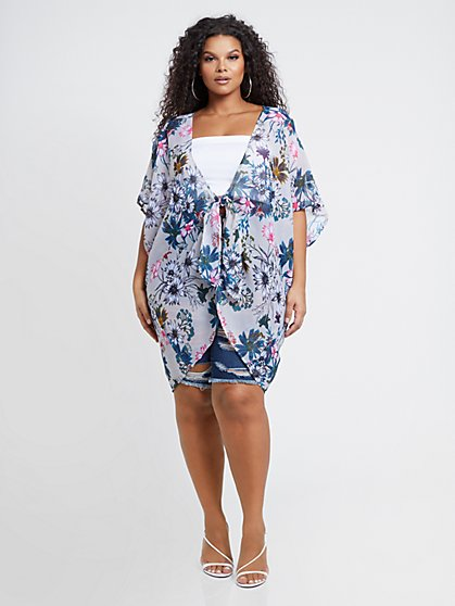Plus Size Kiera Floral Kimono - Fashion To Figure