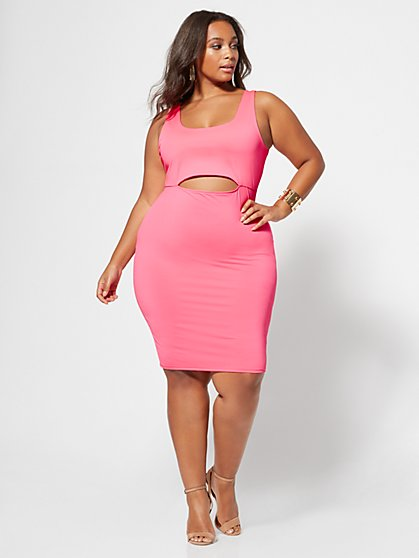 Plus Size Kiki Cut-Out Accented Bodycon Dress - Fashion To Figure