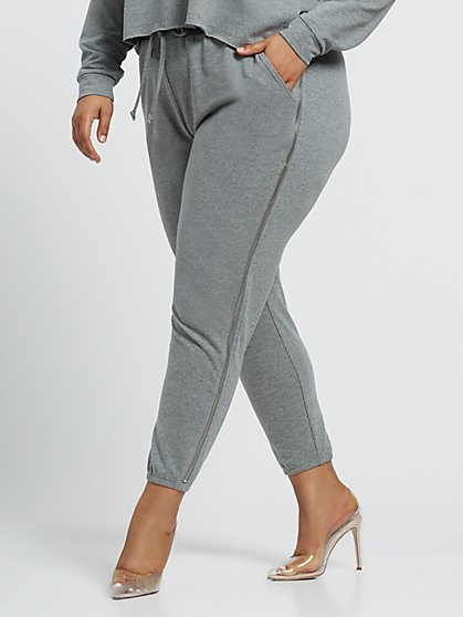 Plus Size Kiki Zipper Jogger Sweatpants - Fashion To Figure