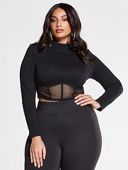 Plus Size Kim Knit Top with Mesh Caged Bottom - Fashion To Figure