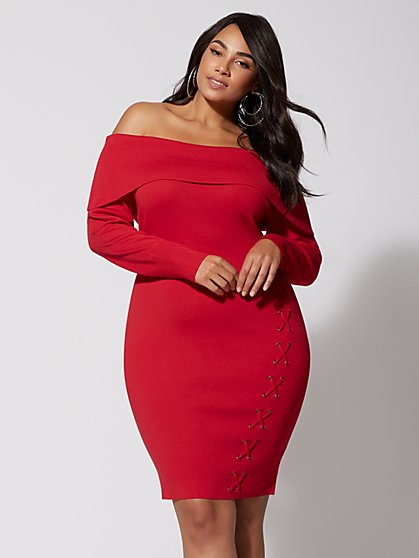 Plus Size Kira Off-Shoulder Sweater Dress - Fashion To Figure