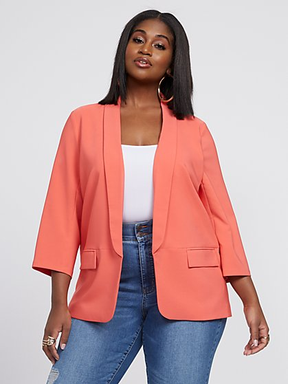 Plus Size Kira Open Front Soft Blazer - Fashion To Figure
