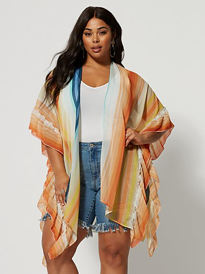 Plus Size Kira Rainbow Stripe Kimono - Fashion To Figure