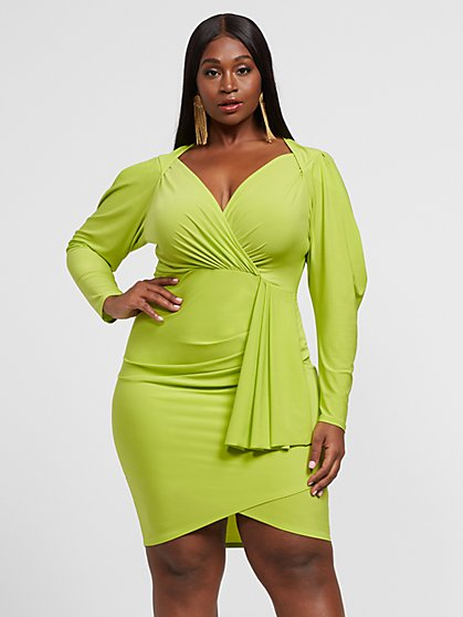 Plus Size Klara Drape Tie Bodycon Dress - Fashion To Figure