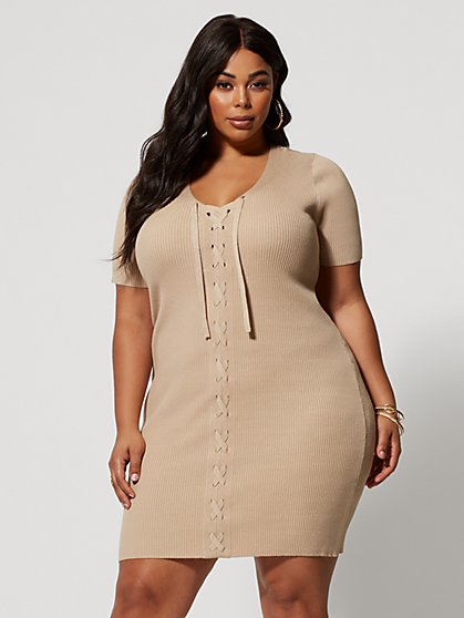 Plus Size Kolbi Lace-Up Sweater Dress - Fashion To Figure
