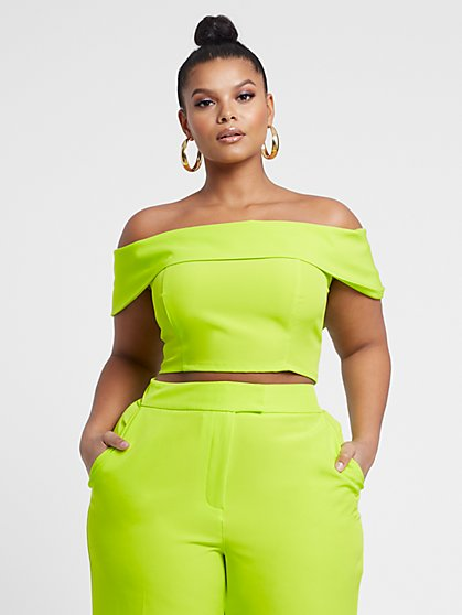 Plus Size Krista Off Shoulder Crop Top - Fashion To Figure