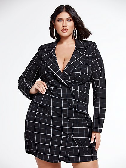 Plus Size Krista Plaid Blazer Dress - Fashion To Figure