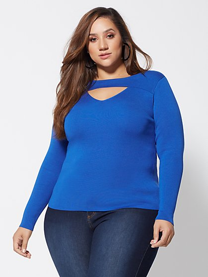 Plus Size Kristi Cut-Out Sweater - Fashion To Figure