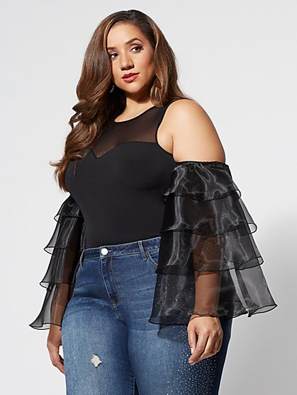 Plus Size Krystal Cold-Shoulder Organza Top - Fashion To Figure