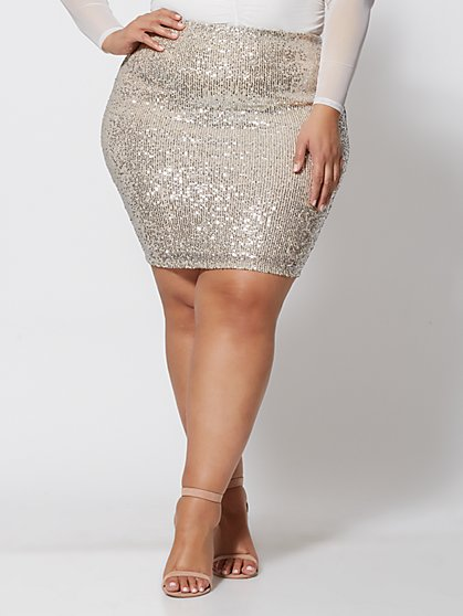Plus Size Krystal Sequin Pencil Skirt - Fashion To Figure