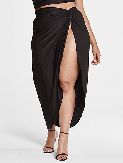 Plus Size Kya Front Slit Maxi Skirt - Fashion To Figure
